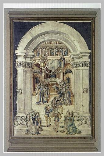 Procession de cordeliers devant un autel de la Vierge