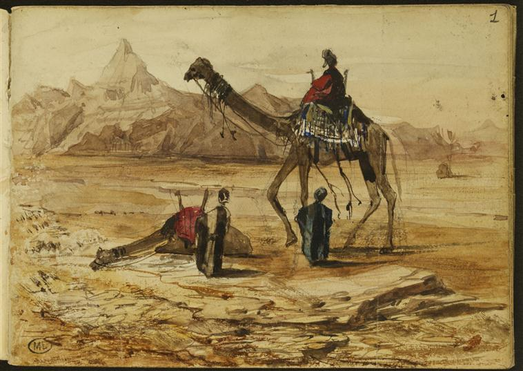 Chameaux dans un paysage désertique_0