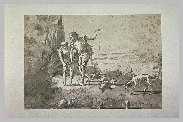 Deux jeunes hommes pêchant, avec un chien