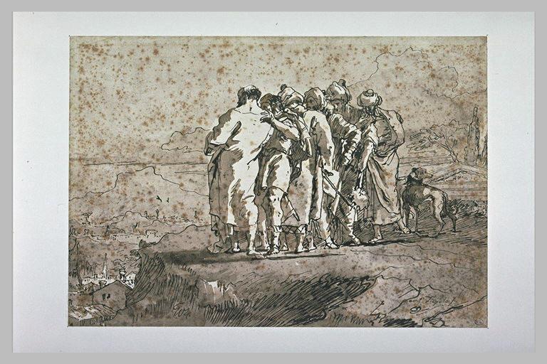 Six hommes vêtus à l'orientale, regardant une ville en contrebas
