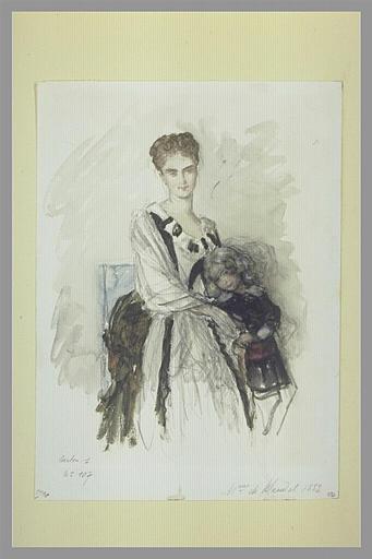HEBERT Ernest : Etude pour le portrait de madame de Wendel avec son enfant