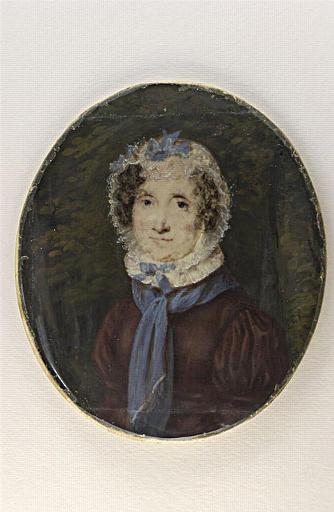 Portrait d'une vieille femme, en buste, la tête enveloppée d'une coiffe