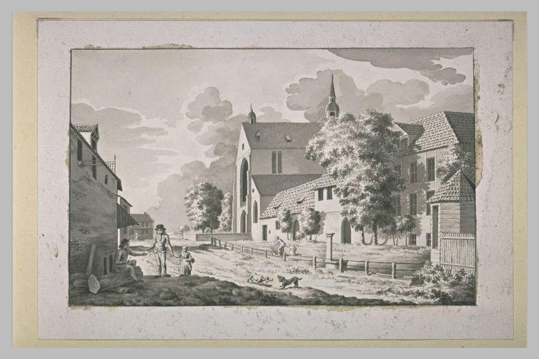Rue de village avec deux hommes et une petite fille