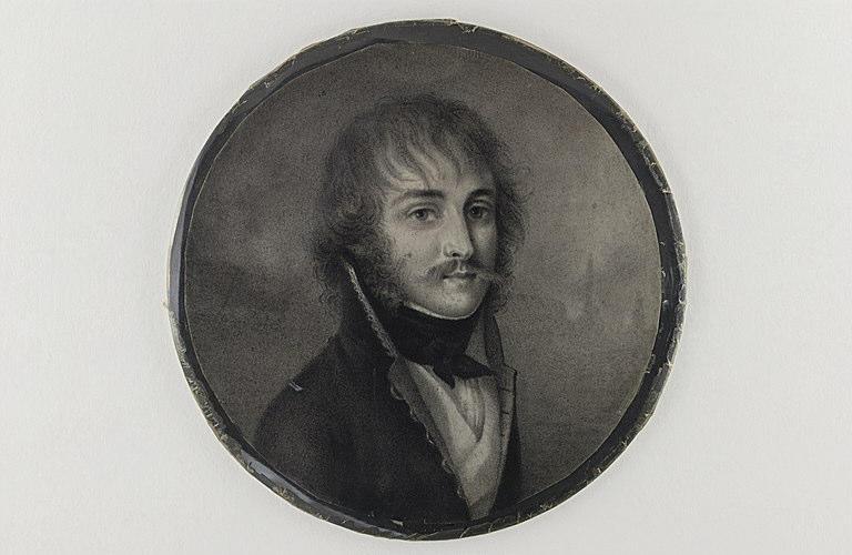 Portrait d'homme en buste, portant moustache, favoris et cheveux en désordre