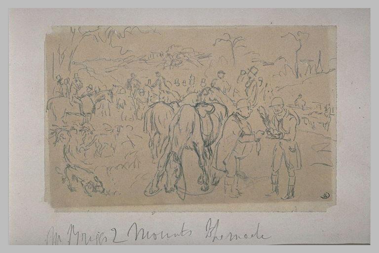 Cavalier et soldats dans une prairie