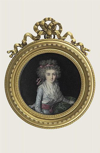 LETELLIER Jean-Baptiste Joseph : Femme à mi-corps, corsage bleu avec fichu, et ceinture grenat