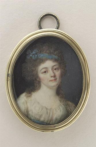 anonyme : Femme en buste, tournée vers la droite, ruban bleu dans les cheveux