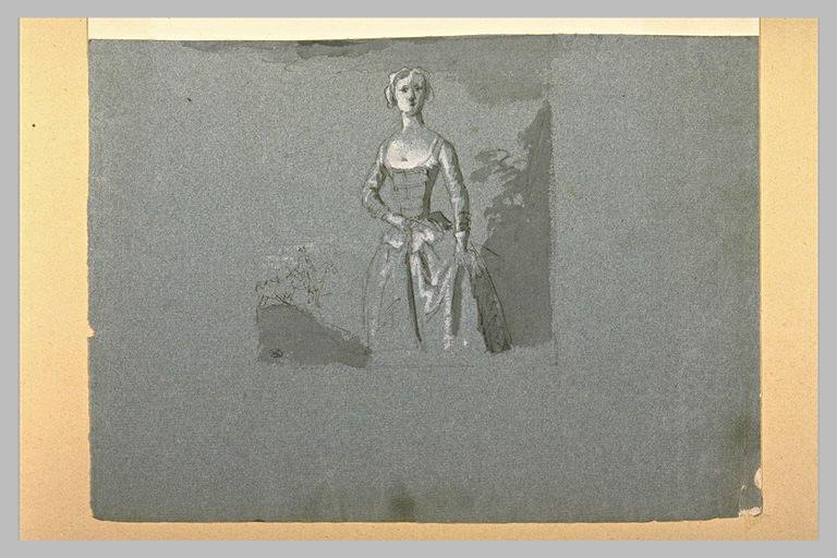 Femme debout, tenant une badine à la main, et croquis de deux chevaux