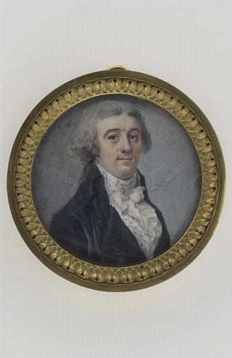 Portrait d'homme en buste, en habit noir à grands revers et gilet blanc_0