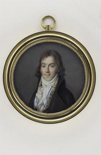 GUERIN Jean Urbain (attribué à) : Portrait d'homme en habit brun à grands revers et gilet jaune à fleurs