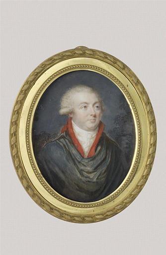 anonyme : Portrait d'homme à mi-corps, en manteau bleu à collet rouge, cravate blanche
