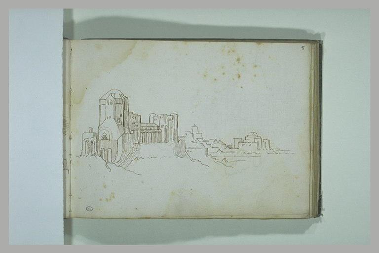 Paysage avec des monuments et des habitations_0