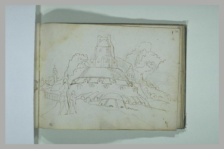 Paysage avec deux personnages devant une construction à deux étages_0