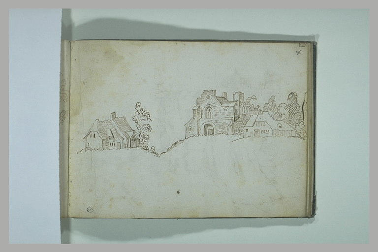 BRIL école des : Paysage avec une chaumière et construction en ruines