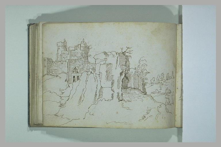 Paysage avec une forteresse sur un promontoire
