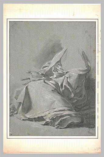 Etude de draperie pour une femme assise, de trois quarts vers la gauche_0