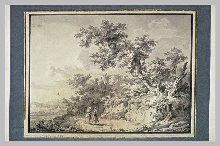 Paysage avec deux figures en conversation près d'une rivière