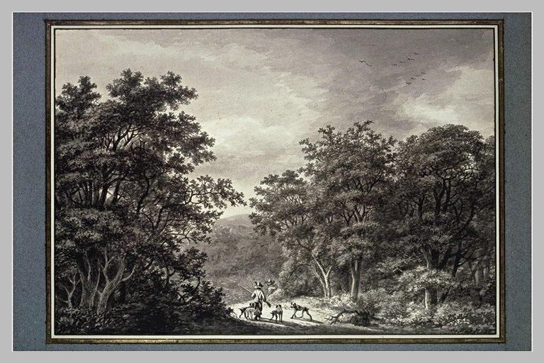 Deux chasseurs dans une forêt