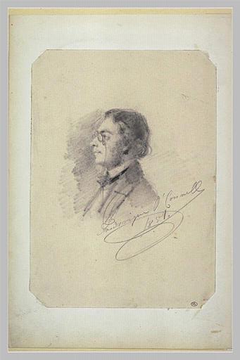 Portrait d'un homme, de profil en buste, un lorgnon sur le nez