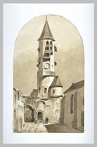 Rue de village avec une église_0