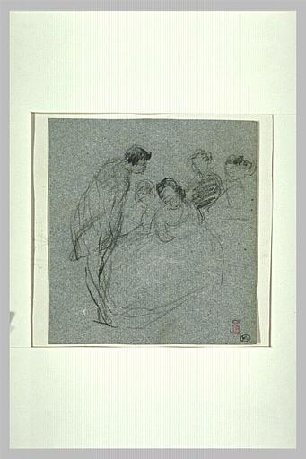 Groupe de personnages conversant, autour d'une femme assise_0