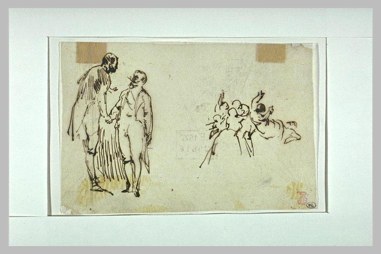 L'Empereur Napoléon III serre la main d'un personnage, personnages à droite_0