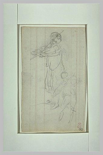 Deux silhouettes du Prince Impérial jouant du violon_0