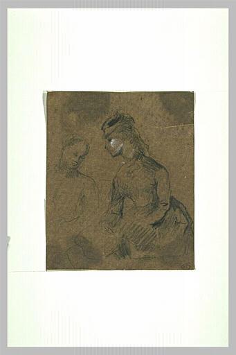 Jeune femme assise et buste d'une jeune femme_0