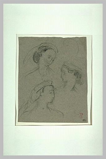 Trois croquis d'une même jeune femme coiffée d'un diadème_0