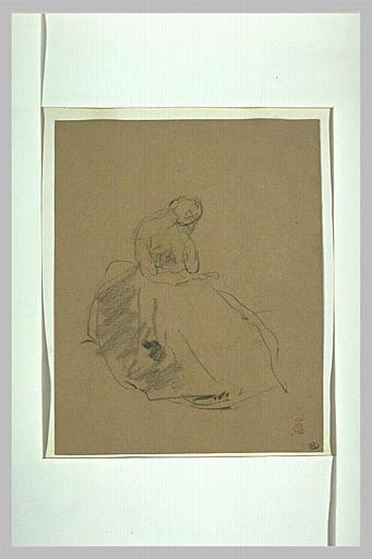 Croquis d'une jeune femme assise, la tête appuyée sur sa main gauche_0