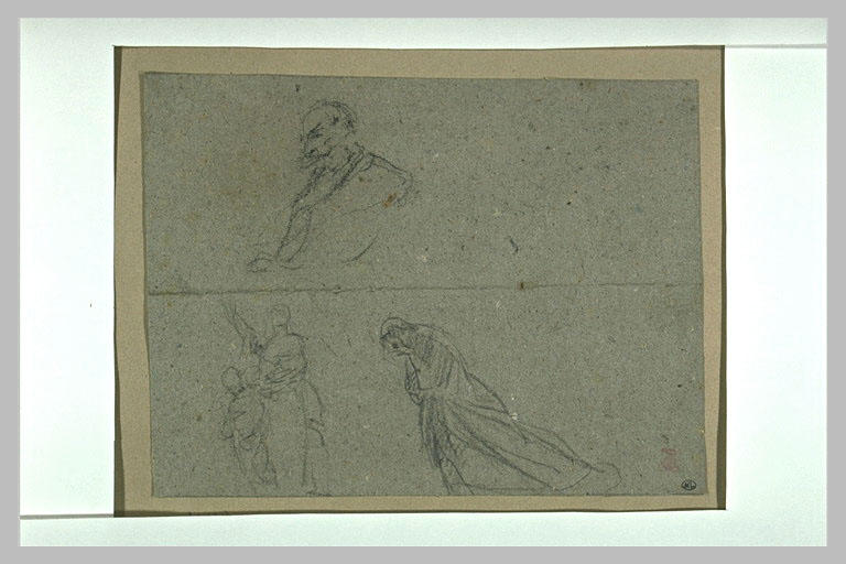 Croquis de l'Empereur, d'une femme agnouillée et d'une femme vue de dos_0