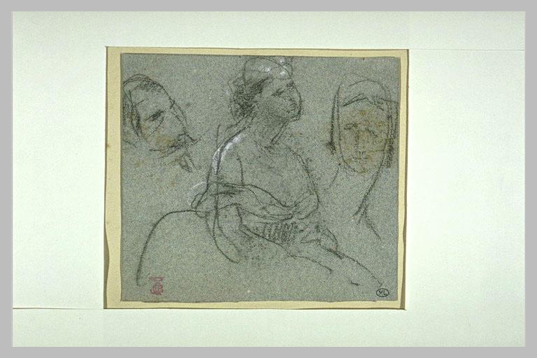Croquis en caricature de l'Empereur, jeune femme assise et visage de femme