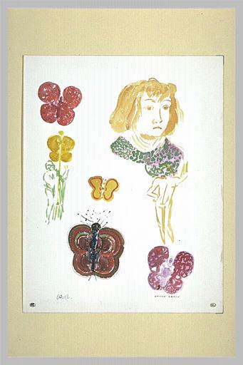 Etudes de papillons, de chenille, de jeune femme et d'un personnage