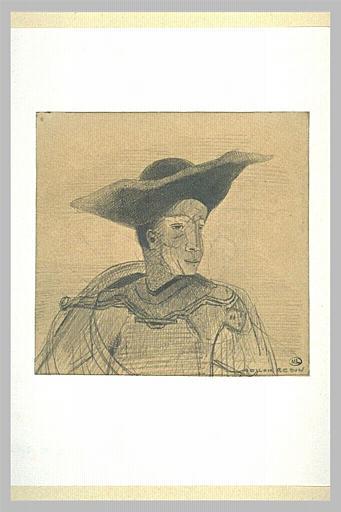 Homme au grand chapeau noir, vêtu d'un pourpoint_0