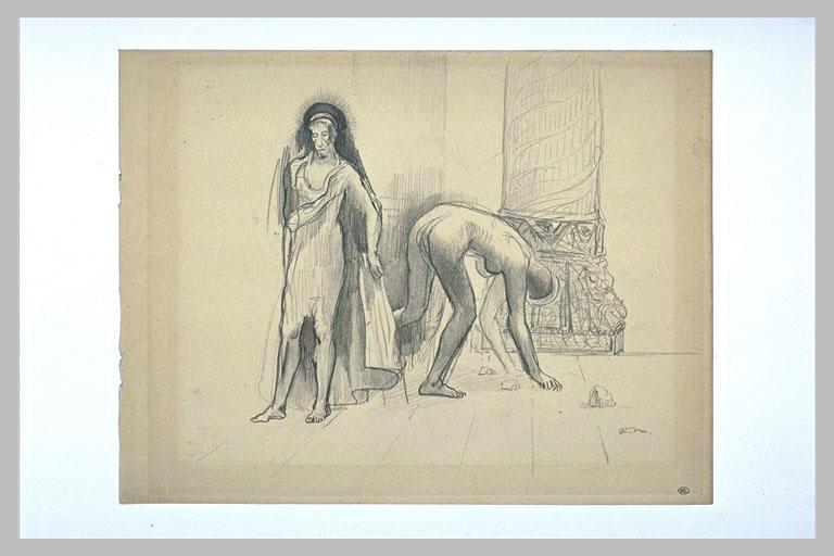 Saint dans un temple, et femme nue ramassant des pierres_0