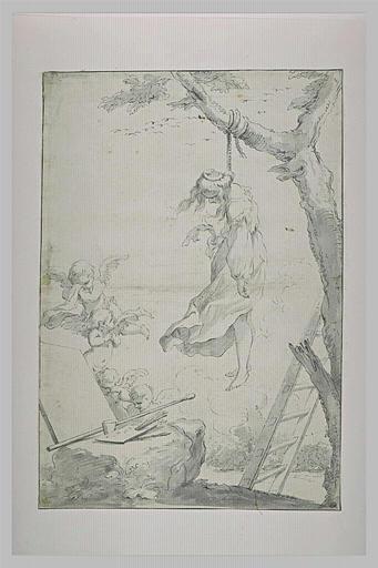 Jeune femme pendue à un arbre, devant une toile vierge, et une palette_0