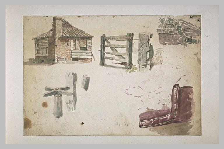 Edifice en briques ; clôture ; mur ; tourniquet ; fauteuil