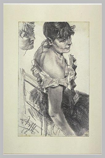Etude de femme assise, vue de trois quarts vers la droite
