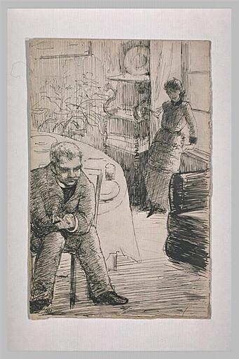 Intérieur d'une salle à manger : homme assis, et femme debout