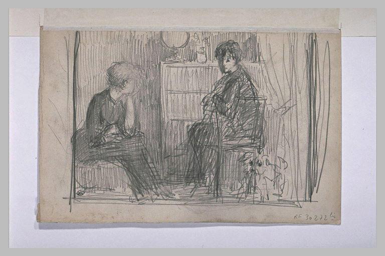 Deux femmes assises, conversant
