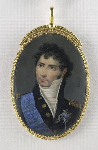 AUBRY Louis François : Portrait d'homme en buste, en uniforme noir et plaque de l'Epée de Suède