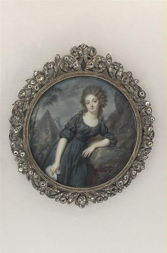 AUGUSTIN Jean-Baptiste Jacques : Portrait de femme, vêtue d'un costume de deuil
