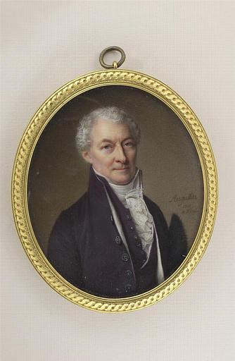 Portrait d'homme âgé portant un habit violet et tenant un bicorne