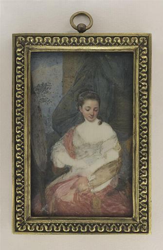 AUGUSTIN Jean-Baptiste Jacques : Jeune artiste devant une toile préparant sa palette
