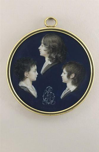 BOURGEOIS Charles Guillaume Alexandre : Portrait d'une jeune femme et de deux jeunes garçons