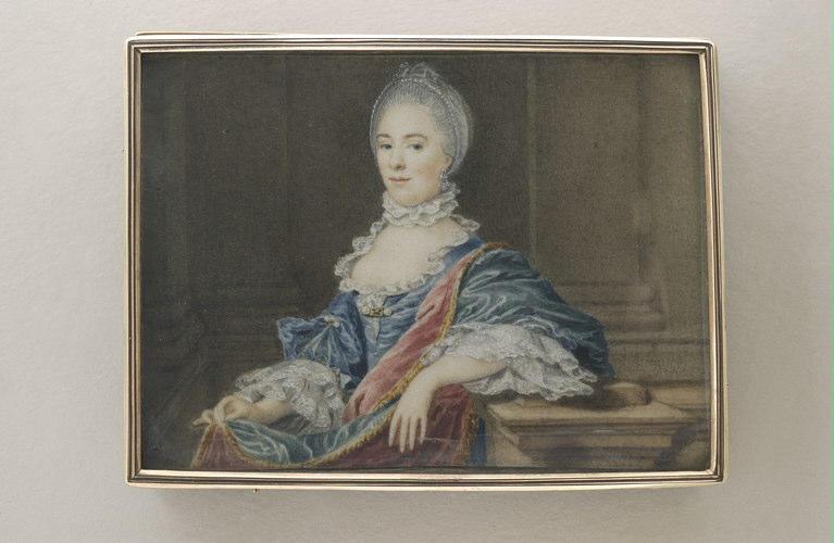 BRUYNINX Daniel : Portrait de femme, assise, à robe bleue