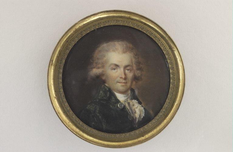 DERANTON Joseph : Portrait d'homme, en buste, en habit vert bouteille