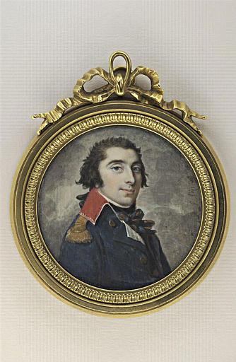DUMONT François : Portrait d'un officier en uniforme bleu à col rouge