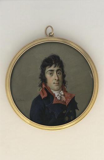 Portrait d'homme en buste, portant une redingote bleu-marine_0