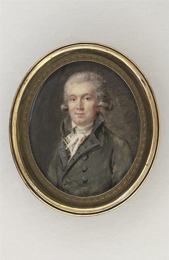 Portrait d'homme, en buste, portant un habit gris-vert